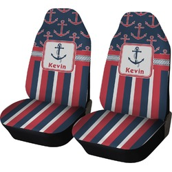Nautical Anchors & Stripes Car Seat Covers (Set of Two) (Personalized)
