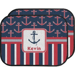 Nautical Anchors & Stripes Car Floor Mats (Back Seat) (Personalized)