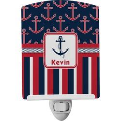Nautical Anchors & Stripes Ceramic Night Light (Personalized)