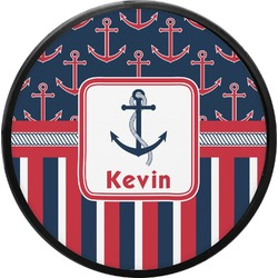 Nautical Anchors & Stripes Round Trailer Hitch Cover (Personalized)