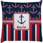 Nautical Anchors & Stripes Decorative Pillow Case (Personalized)