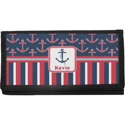 Nautical Anchors & Stripes Canvas Checkbook Cover (Personalized)
