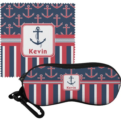 Nautical Anchors & Stripes Eyeglass Case & Cloth (Personalized)