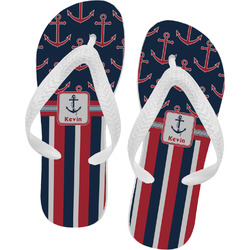 Nautical Anchors & Stripes Flip Flops (Personalized)