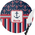 Nautical Anchors & Stripes Round Glass Cutting Board (Personalized)