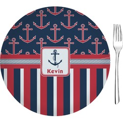 """Nautical Anchors & Stripes Glass Appetizer / Dessert Plate 8"""" (Personalized)"""