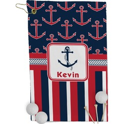 Nautical Anchors & Stripes Golf Towel - Full Print (Personalized)