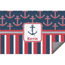 Nautical Anchors & Stripes Indoor / Outdoor Rug (Personalized)