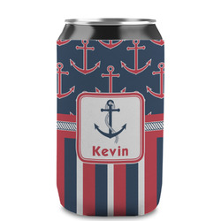 Nautical Anchors & Stripes Can Sleeve (12 oz) (Personalized)