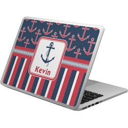 Nautical Anchors & Stripes Laptop Skin - Custom Sized (Personalized)