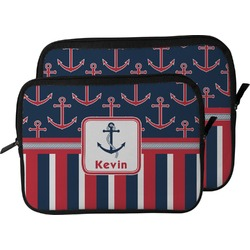 Nautical Anchors & Stripes Laptop Sleeve / Case (Personalized)