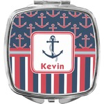 Nautical Anchors & Stripes Compact Makeup Mirror (Personalized)