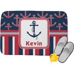 Nautical Anchors & Stripes Memory Foam Bath Mat (Personalized)