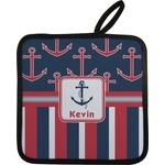 Nautical Anchors & Stripes Pot Holder w/ Name or Text