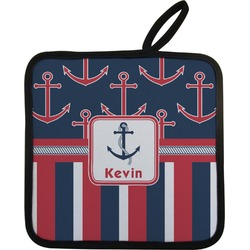 Nautical Anchors & Stripes Pot Holder (Personalized)