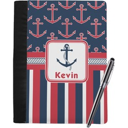 Nautical Anchors & Stripes Notebook Padfolio (Personalized)