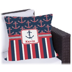 """Nautical Anchors & Stripes Outdoor Pillow - 16"""" (Personalized)"""