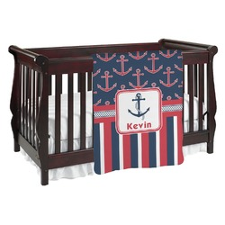 Nautical Anchors & Stripes Baby Blanket (Personalized)
