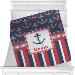 "Nautical Anchors & Stripes Fleece Blanket - Queen / King - 90""x90"" - Single Sided (Personalized)"
