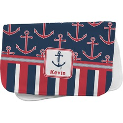 Nautical Anchors & Stripes Burp Cloth (Personalized)