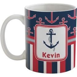 Nautical Anchors & Stripes Coffee Mug (Personalized)