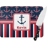 Nautical Anchors & Stripes Rectangular Glass Cutting Board (Personalized)