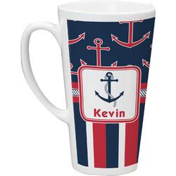 Nautical Anchors & Stripes Latte Mug (Personalized)