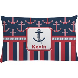 Nautical Anchors & Stripes Pillow Case - King (Personalized)