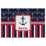 Nautical Anchors & Stripes Laminated Placemat w/ Name or Text