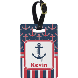 Nautical Anchors & Stripes Rectangular Luggage Tag (Personalized)