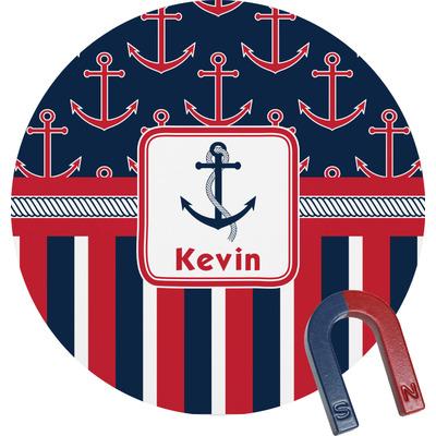 Nautical Anchors & Stripes Round Fridge Magnet (Personalized)