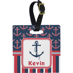 Nautical Anchors & Stripes Luggage Tags (Personalized)