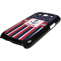 Nautical Anchors & Stripes Plastic Samsung Galaxy 3 Phone Case (Personalized)