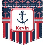 Nautical Anchors & Stripes Iron On Faux Pocket (Personalized)