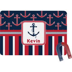 Nautical Anchors & Stripes Rectangular Fridge Magnet (Personalized)
