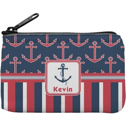 Nautical Anchors & Stripes Rectangular Coin Purse (Personalized)