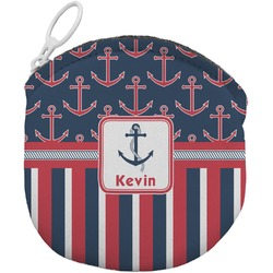 Nautical Anchors & Stripes Round Coin Purse (Personalized)