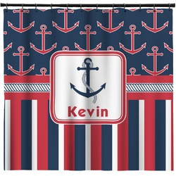 Nautical Anchors & Stripes Shower Curtain (Personalized)
