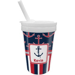 Nautical Anchors & Stripes Sippy Cup with Straw (Personalized)