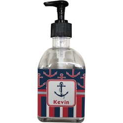 Nautical Anchors & Stripes Soap/Lotion Dispenser (Glass) (Personalized)