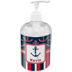 Nautical Anchors & Stripes Acrylic Soap & Lotion Bottle (Personalized)