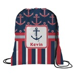 Nautical Anchors & Stripes Drawstring Backpack (Personalized)