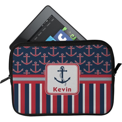 Nautical Anchors & Stripes Tablet Case / Sleeve (Personalized)