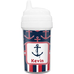 Nautical Anchors & Stripes Toddler Sippy Cup (Personalized)