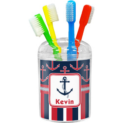 Nautical Anchors & Stripes Toothbrush Holder (Personalized)