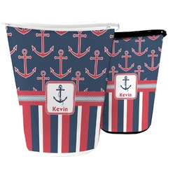 Nautical Anchors & Stripes Waste Basket (Personalized)