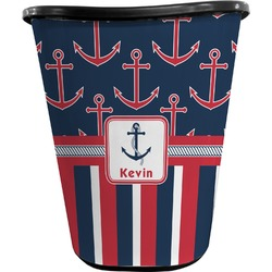 Nautical Anchors & Stripes Waste Basket - Double Sided (Black) (Personalized)