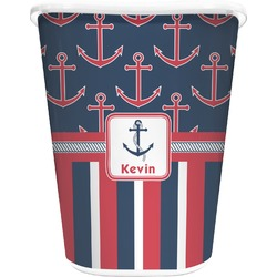Nautical Anchors & Stripes Waste Basket - Single Sided (White) (Personalized)