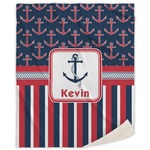 Nautical Anchors & Stripes Sherpa Throw Blanket (Personalized)