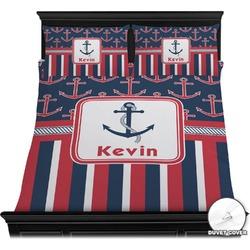 Nautical Anchors & Stripes Duvet Cover Set (Personalized)